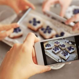 Photographing baked goods with phone