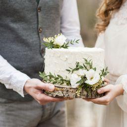 Couple with wedding cake