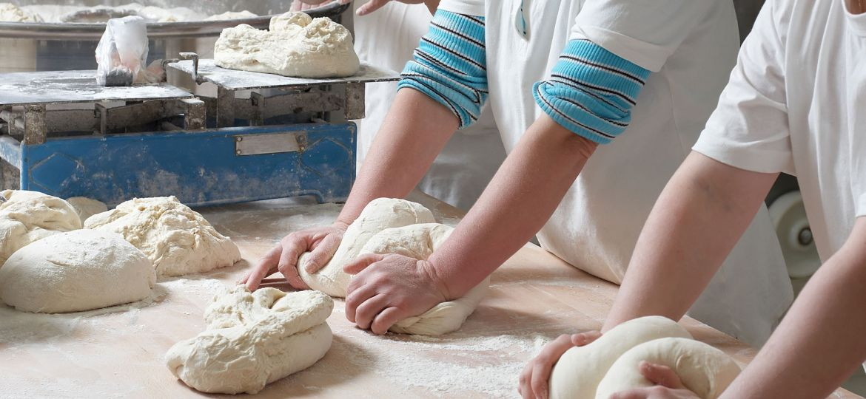 WorkNational Bakery Day - Kneading in Kitchen - BakeSmart.jpging bakery team
