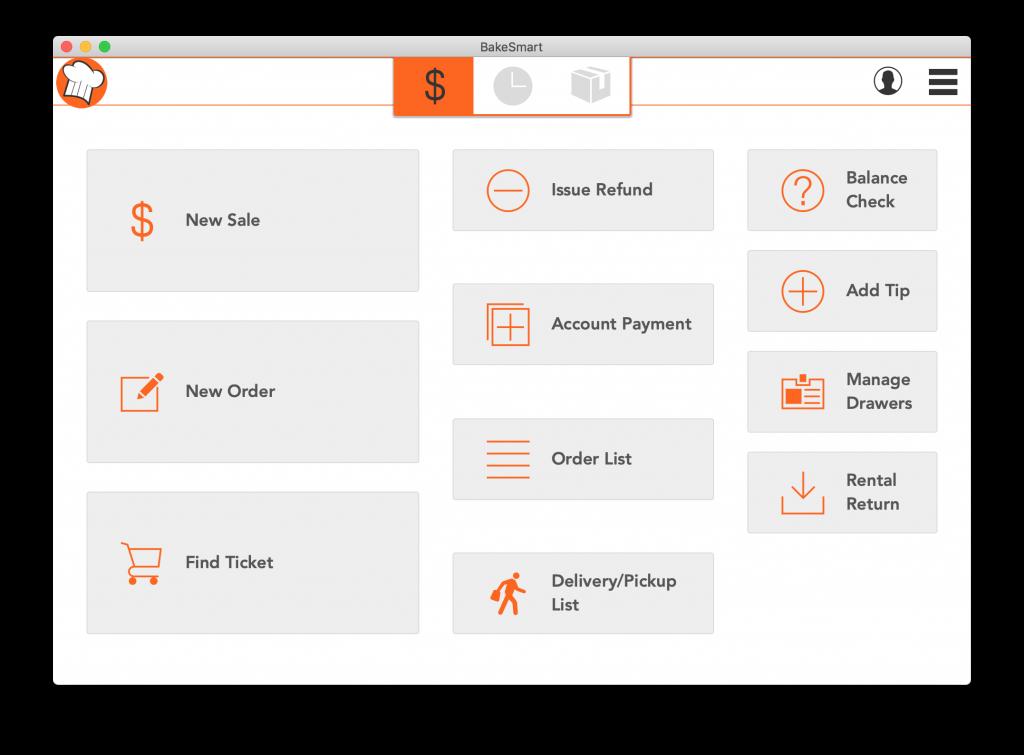 screenshot of Bakesmart POS homescreen